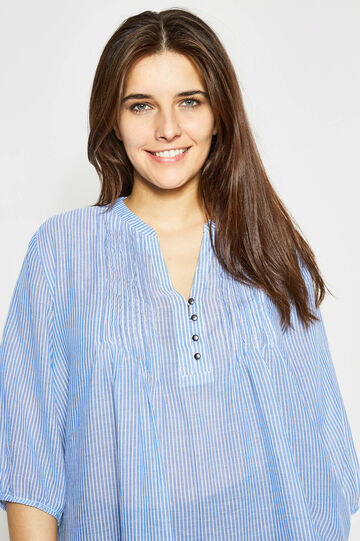 Curvy pleated blouse with stripes