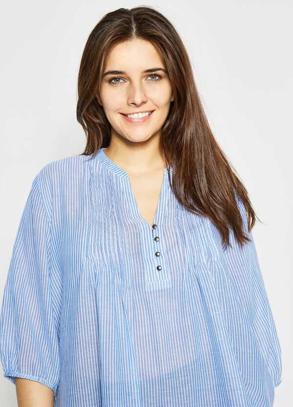 Curvy pleated blouse with stripes | OVS