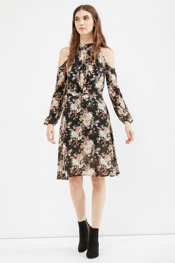 Long-sleeved dress with floral print, Black, hi-res