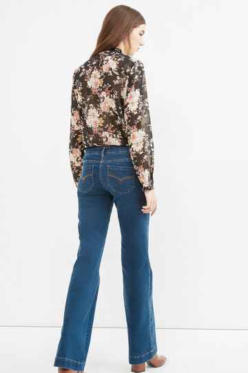 Bootcut jeans with contrasting stitching, Denim Blue, hi-res