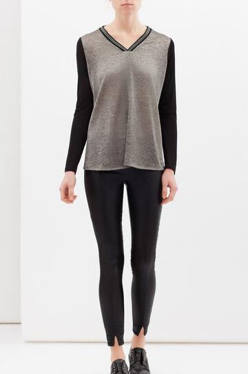 Two-tone T-shirt in stretch viscose, Black/Grey, hi-res