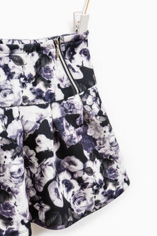 Stretch skirt with floral pattern, Grey, hi-res