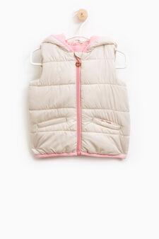 Padded waistcoat with zip, Beige, hi-res