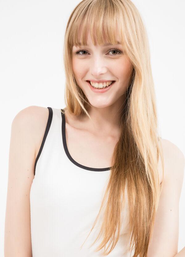 Stretch cotton top with contrasting colour trim | OVS