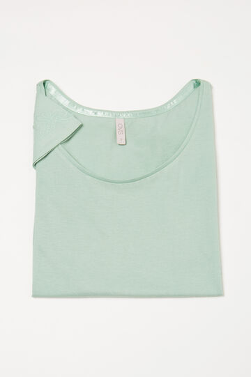 Cotton pyjama top with embroidery, Green, hi-res
