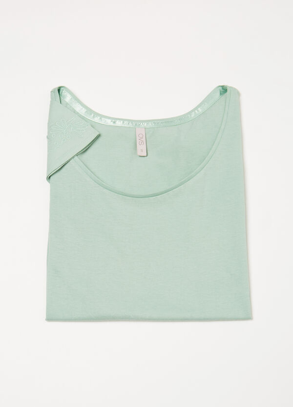 Cotton pyjama top with embroidery | OVS