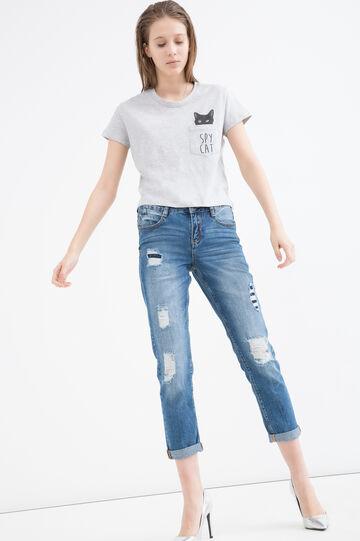 100% cotton printed short T-shirt, Grey Marl, hi-res