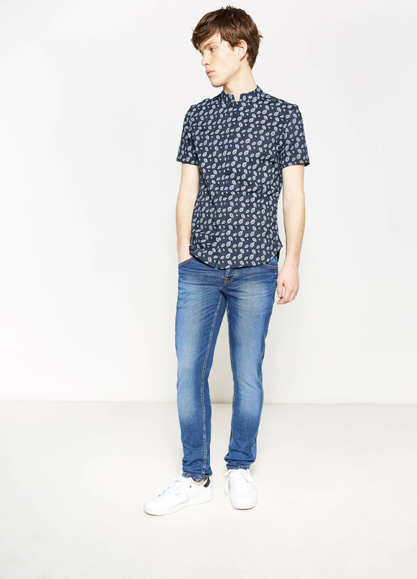 Slim-fit casual shirt with floral pattern | OVS
