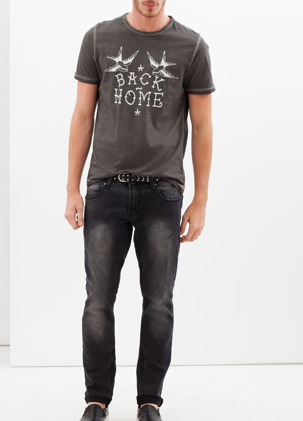 Printed T-shirt with contrasting stitching | OVS
