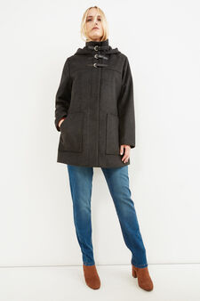 Curvy jacket with hood, Slate Grey, hi-res