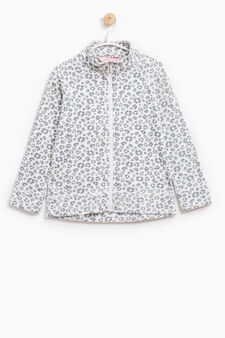 Fleece sweatshirt with high neck and pattern, Milky White, hi-res