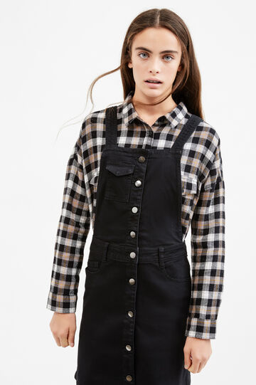 Teen stretch denim pinafore dress, Black, hi-res