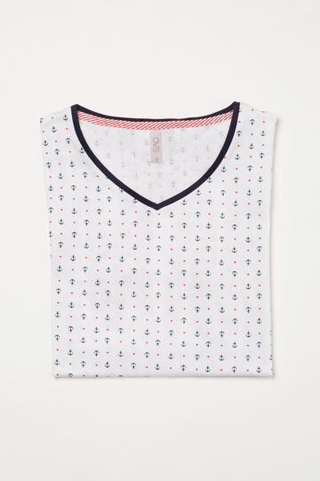 Maglia pigiama stampa all-over, Bianco, hi-res