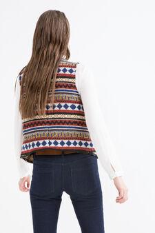 Viscose blend jacquard waistcoat., Multicolour, hi-res