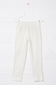 Openwork cotton trousers, Milky White, hi-res