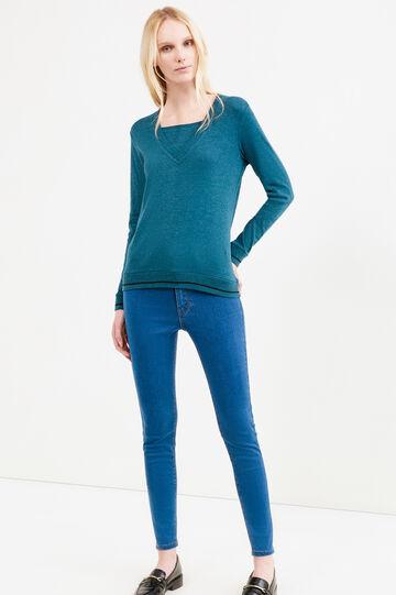 Faux layered 100% cotton T-shirt, Black/Green, hi-res