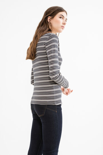 Long-sleeved cotton T-shirt with stripes, Black/Grey, hi-res