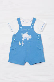 Cotton outfit with animals, White/Blue, hi-res