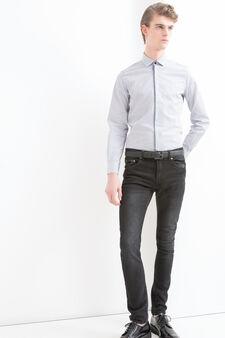 Patterned shirt in 100% cotton, Blue, hi-res