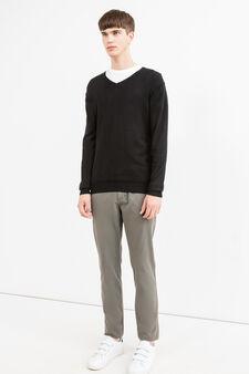Pantaloni chino regular fit puro cotone, Grigio, hi-res