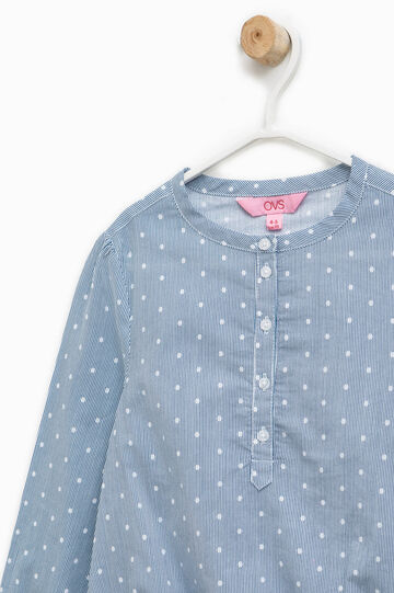 Striped and polka dot cotton blouse, White/Light Blue, hi-res
