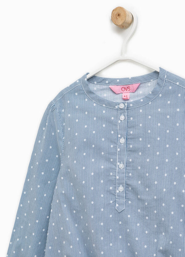Striped and polka dot cotton blouse | OVS