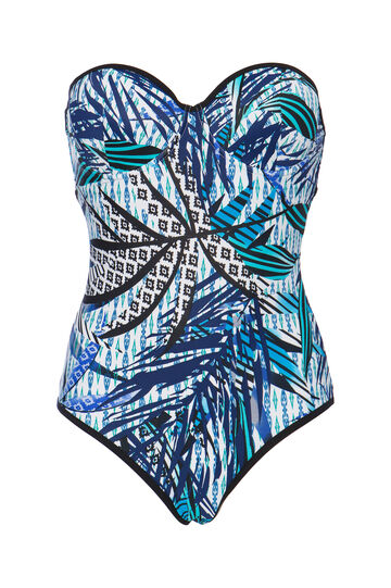 Costume intero stretch floreale, Blu, hi-res