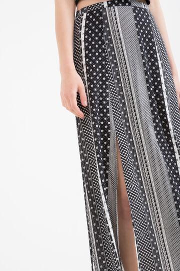 Long printed skirt in 100% viscose, Black, hi-res