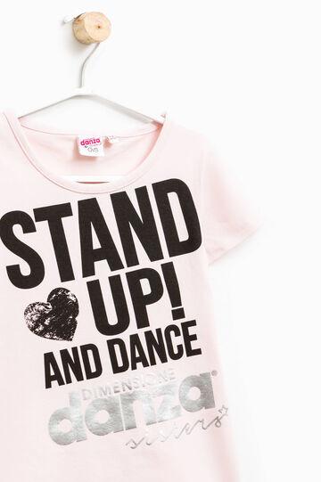 Camiseta con motivo de texto Dimensione Danza, Rosa claro, hi-res