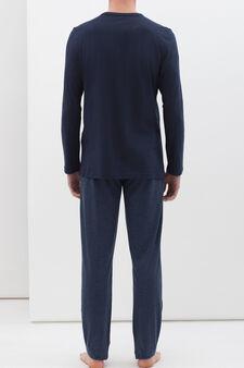 Full-length pyjamas in 100% cotton, Dark Blue, hi-res