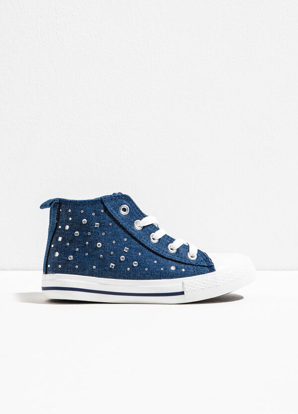High-top sneakers with laces and diamantés | OVS
