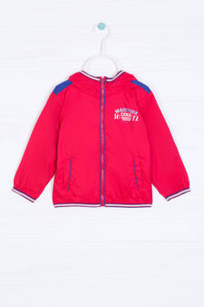 Windbreaker with high neck and print, Red, hi-res