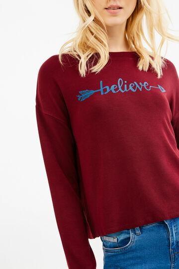 Crop sweatshirt with printed lettering, Red, hi-res