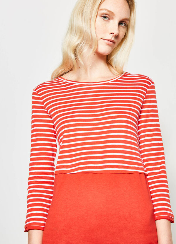 Striped T-shirt with faux layering | OVS