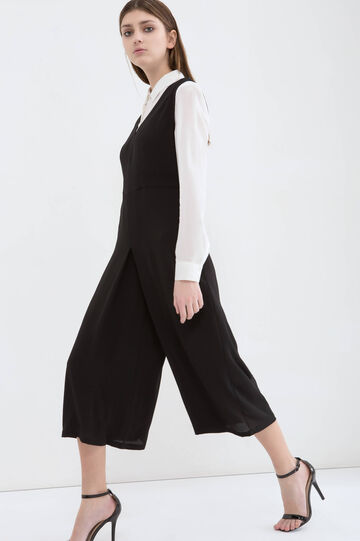 Stretch playsuit with gaucho pants, Black, hi-res