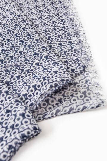 Patterned scarf with fringed edges, Denim Blue, hi-res