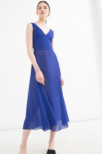 Solid colour sleeveless dress, Blue, hi-res