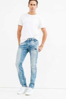 Worn-effect, skinny-fit stretch jeans with rips, Light Wash, hi-res