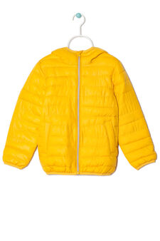 Down jacket with hood, Yellow, hi-res