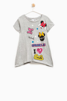 T-shirt with patch and Minnie Mouse print, Grey, hi-res