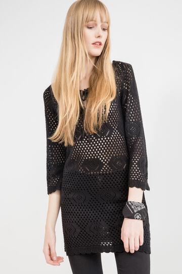 Solid colour short knit dress., Black, hi-res