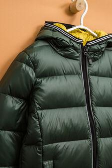 Piumino vera piuma con cappuccio, Verde, hi-res