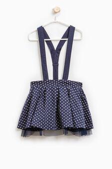 Skirt with polka dot braces., Navy Blue, hi-res