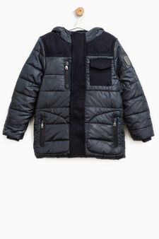 Patterned down jacket with hood, Navy Blue, hi-res