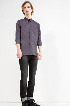 Slim-fit casual shirt in 100% cotton, Grey, hi-res