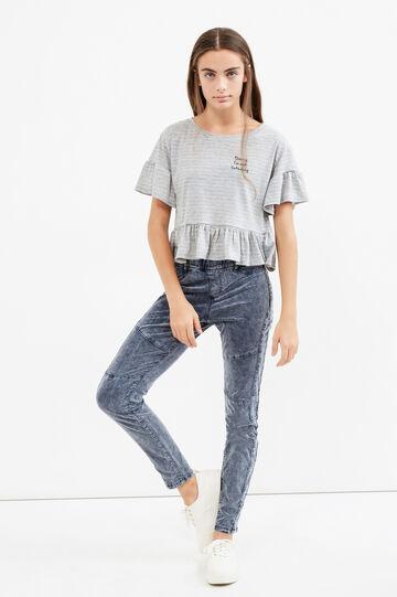 Pantaloni cotone stretch maltinto Teen, Grigio, hi-res