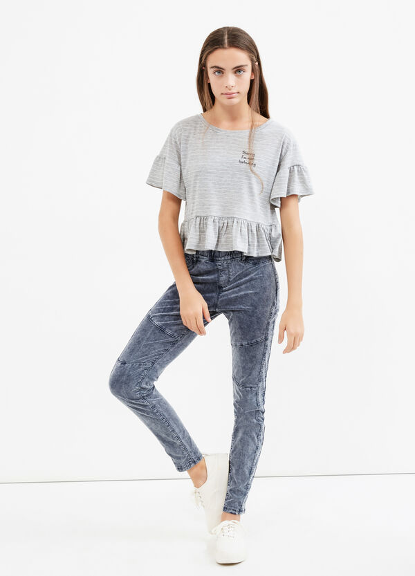 Teen mis-dyed stretch cotton trousers | OVS