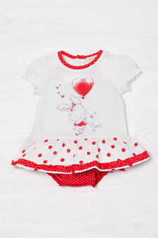 Polka dot romper suit in cotton, White/Red, hi-res