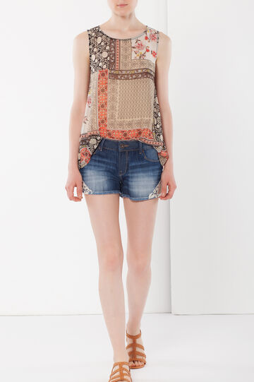 Denim shorts with lace, Denim, hi-res
