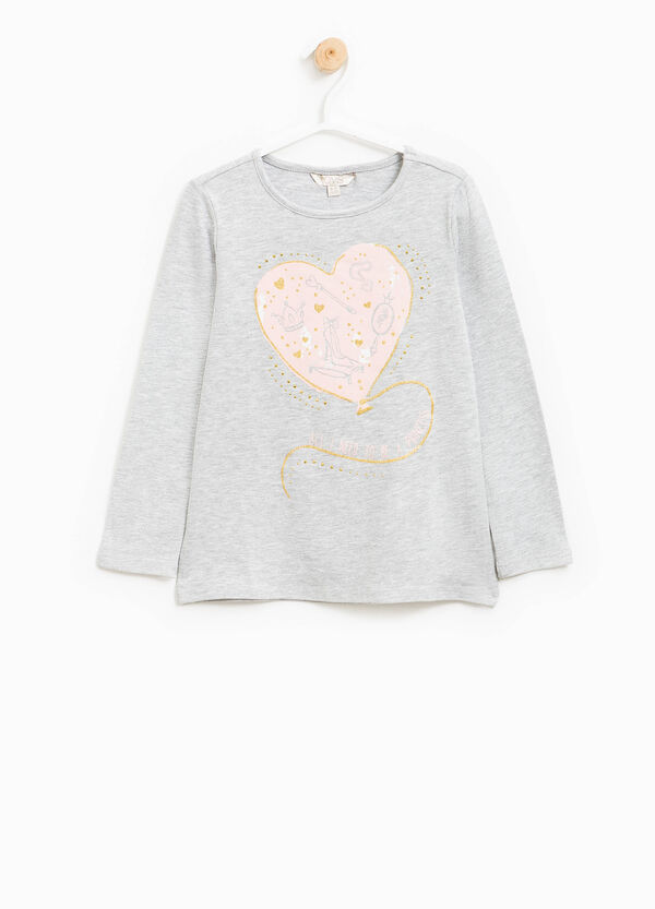 Printed T-shirt with glitter and diamantés | OVS